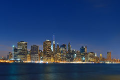 Manhattah skyline at night. Stock Photo