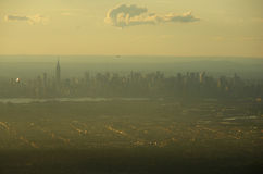 Manhattan. The panoramic view of Manhattan in a sunset's light royalty free stock photography