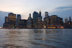 Manhattan. By night in New York Stock Photography