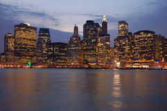 Manhattan. By night in New York Royalty Free Stock Photo