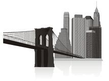 Manhattan. Part of big city with bridge and high towers Stock Photos