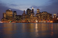 Manhattan. By night in New York Royalty Free Stock Images