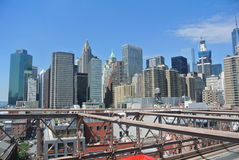 Manhattan aan Brooklyn Stock Foto's