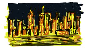 Manhattan abstracta en la noche libre illustration