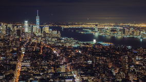Manhattan aerial panorama cityscape skyline. Timelapse. Far ahead of the Statue of Liberty can be seen. New York City stock video footage