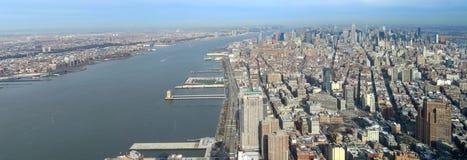 Manhattan aerial panorama image. Aerial image of Manhattan in New York, USA stock images