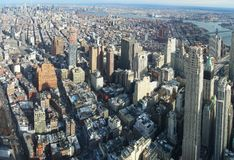 Manhattan aerial panorama image. Aerial image of Manhattan in New York, USA royalty free stock image