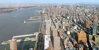 Manhattan aerial panorama image. Aerial image of Manhattan in New York, USA royalty free stock images