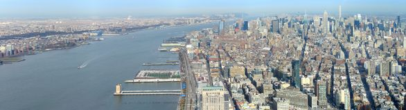 Manhattan aerial panorama image. Wide aerial image of Manhattan, Hudson River and parts of New Jersey, USA stock photos