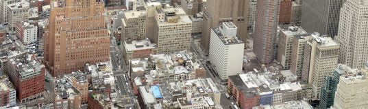 Manhattan aerial panorama. Aerial panorama of Manhattan in New York, USA royalty free stock images