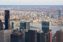 Manhattan Aerial towards Queens in Fall 2010 Stock Photos