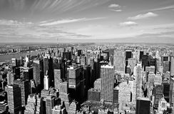 Manhattan aerial view. In black and white Stock Images