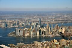 Manhattan aerial view stock images