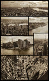 Manhattan aerial views on grunge. Six aerial views of Manhattan in sepia color and low grunge background to give them a nostalgic aspect Royalty Free Stock Photo