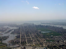 Manhattan Aeroview. Looking down the length of Manhattan from the north end Royalty Free Stock Images
