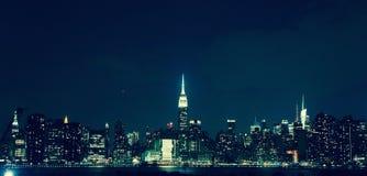 Manhattan alla notte Fotografia Stock