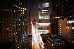 Manhattan alla notte Immagini Stock