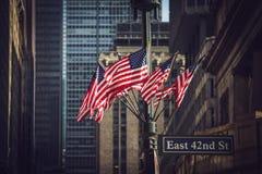 Manhattan amerikanska flaggan Arkivfoto