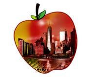 Manhattan-Ansicht in eine Apfelform Lizenzfreies Stockfoto