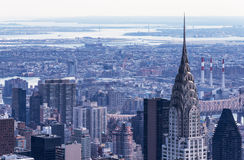 Manhattan - April  2015, New York City, USA: Aerial view of Chrysler Building, East River and Astoria Stock Photos