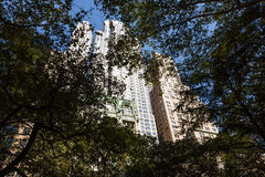 Manhattan architecture. View from St Pauls Churchyard. Royalty Free Stock Photo