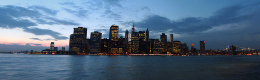 Manhattan bay seen from Brooklyn Bridge Park, New York, USA Royalty Free Stock Image