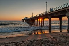 Manhattan Beach, Los Angeles at dusk royalty free stock photos