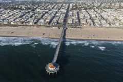 Manhattan Beach Pier Aerial Photographie stock