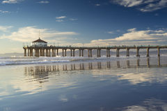 Manhattan Beach Pier Afternoon Reflections Stock Photo