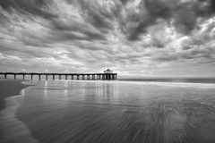 Manhattan Beach Pier Black and White Sunset Stock Images