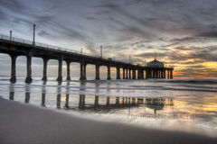 Manhattan Beach Pier Colorful Sunset Royalty Free Stock Photos