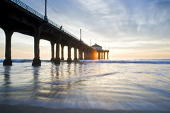 Manhattan Beach Pier Colorful Sunset Royalty Free Stock Images