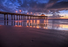 Manhattan Beach Pier HDR. Los Angeles County, California stock photography