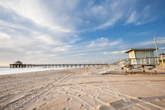 Manhattan Beach Pier and life guard tower Stock Images