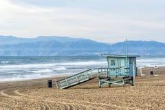 Manhattan Beach Pier Lifeguard Tower stock photo
