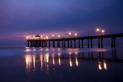 Manhattan Beach Pier at Nightfall Stock Image