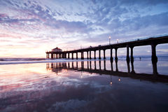 Manhattan Beach Pier Nightfall Reflections Royalty Free Stock Image