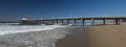 Manhattan Beach pier panoramic. Manhattan beach California Panoramic with the pier Stock Photos
