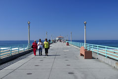 Manhattan Beach Pier. People walking on the manhattan beach pier in Manhattan Beach California on the pacific ocean Stock Photography