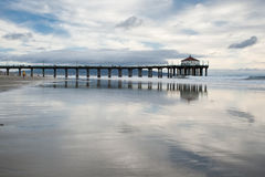 Manhattan Beach Pier Reflections Royalty Free Stock Photos