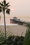 Manhattan Beach Pier Smokey Sunset Royalty Free Stock Photography