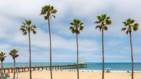 Manhattan Beach at sunset in California royalty free stock photography