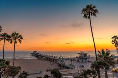 Manhattan Beach at sunset in California stock photography