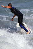 Manhattan Beach Surfing. MANHATTAN BEACH, CALIFORNIA, USA - SEPTEMBER 28, 2012. Surfers enjoy large waves on September 28, 2012.  Large waves are caused by the Royalty Free Stock Images
