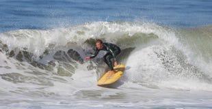 Manhattan Beach Surfing. EL PORTO, MANHATTAN BEACH, CALIFORNIA, USA - OCTOBER 1. Surfers enjoy large waves on October 1, 2012. El Porto is a popular beach with Royalty Free Stock Photography