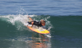 Manhattan Beach Surfing. EL PORTO, MANHATTAN BEACH, CALIFORNIA, USA - OCTOBER 1. Surfers enjoy large waves on October 1, 2012. El Porto is a popular beach with Royalty Free Stock Images