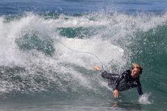 Manhattan Beach Surfing. EL PORTO, MANHATTAN BEACH, CALIFORNIA, USA - OCTOBER 1. Surfers enjoy large waves on October 1, 2012. El Porto is a popular beach with Stock Photography