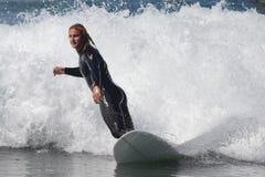 Manhattan Beach Surfing. EL PORTO, MANHATTAN BEACH, CALIFORNIA, USA - OCTOBER 1. Surfers enjoy large waves on October 1, 2012. El Porto is a popular beach with Stock Photos