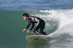 Manhattan Beach Surfing. EL PORTO, MANHATTAN BEACH, CALIFORNIA, USA - OCTOBER 1. Surfers enjoy large waves on October 1, 2012. El Porto is a popular beach with Royalty Free Stock Photo