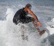 Manhattan Beach Surfing. EL PORTO, MANHATTAN BEACH, CALIFORNIA, USA - OCTOBER 1. Surfers enjoy large waves on October 1, 2012. El Porto is a popular beach with Stock Image